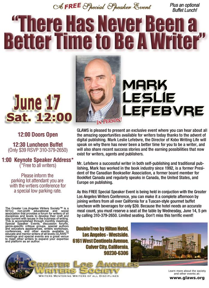 KOBO WRITING LIFE DIRECTOR TO SPEAK AT THE GREATER LOS ANGELES WRITERS CONFERENCE